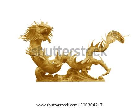 Golden dragon statue on white background - stock photo