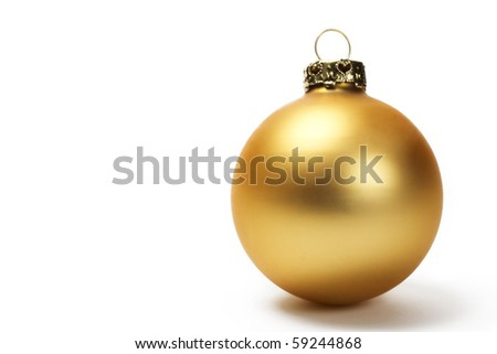 golden dull christmas ball on white background - stock photo