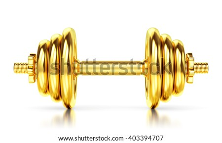 Golden dumbbell isolated on white background, glossy floor. Sports award, trophy and championship concept. 3D illustration - stock photo
