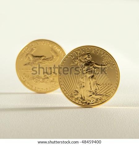 Golden eagle gold bullion. Focus on obverse - stock photo