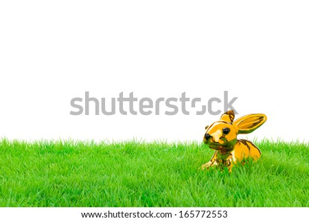Golden easter bunny, sitting in bright field. Isolated on white. - stock photo