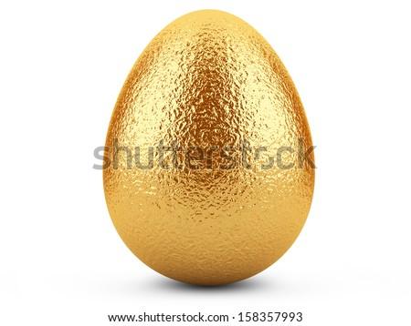 Golden easter egg isolated isolated on white background. - stock photo