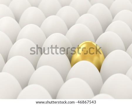 Golden egg among the white. 3d illustration. Focus on the golden egg. - stock photo
