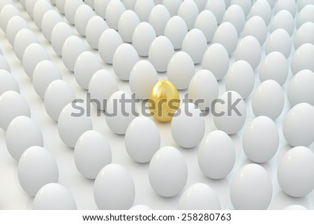 Golden egg in line with other eggs - stock photo