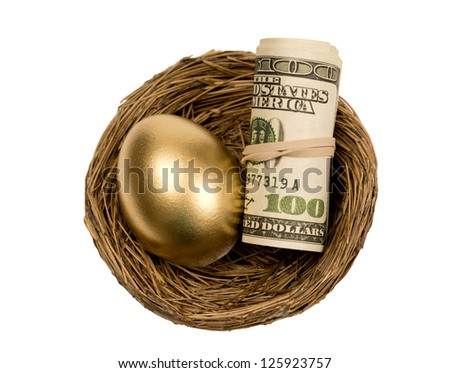 Golden Egg With Roll Of Money In Nest Isolated On White - stock photo