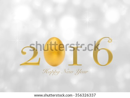 Golden eggs happy new year 2016 greeting text message announcement letters on blurred abstract background gold magical sparkling shimmering silver white color bokeh light: Year of prosperity concept - stock photo