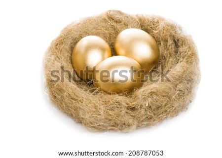 Golden eggs on a nest isolated on white background - stock photo