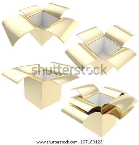 Golden empty parcel package boxes, set of four, isolated on white - stock photo