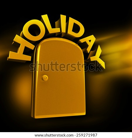 Golden entrance to luxury holiday concept 3d illustration  - stock photo