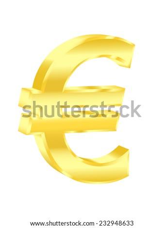 Golden euro sign. 2d illustration - stock photo