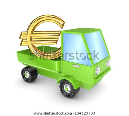 Golden euro sign in a green truck.Isolated on white background.3d rendered. - stock photo