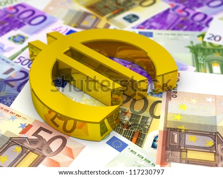 Golden Euro Symbol on Euro Bills / 3D render - stock photo