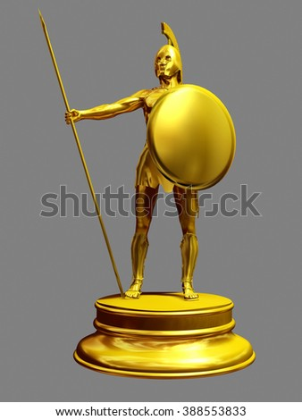 golden figurine of a greek hoplite guarding your security - stock photo