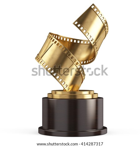Golden Film Award Movie- 3d render - stock photo