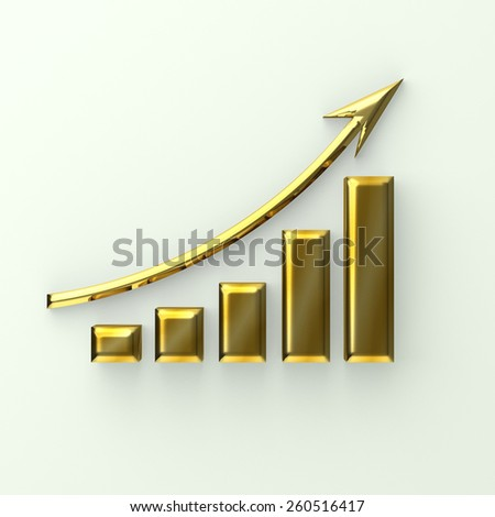 Golden finace bar with curve up arrow - stock photo