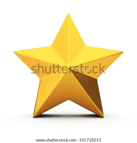 Golden five-pointed star on the white background - stock photo