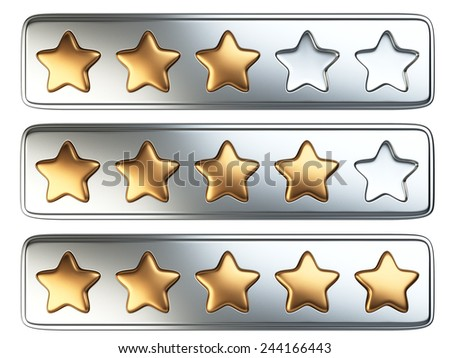 Golden five stars rating system. 3d illustration isolated on a white background. - stock photo