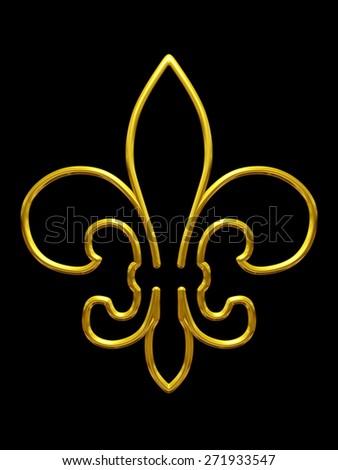 golden fleur-de-lys outline version - stock photo