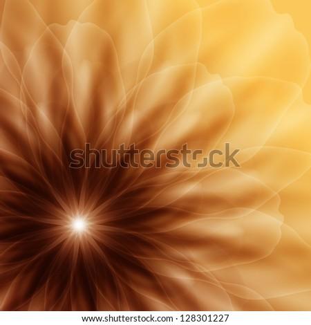 Golden Flower, corner vignette. Raster copy of vector image - stock photo