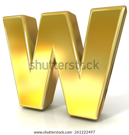 Golden font collection letter - W. 3D render illustration, isolated on white background. - stock photo