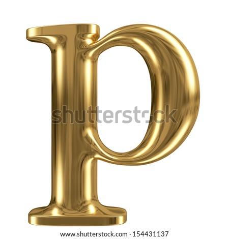 Golden font type letter p, lowercase - stock photo
