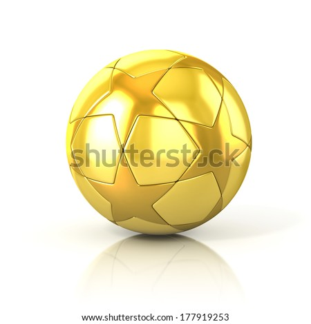 golden football - soccer ball with star pattern isolated on white - stock photo