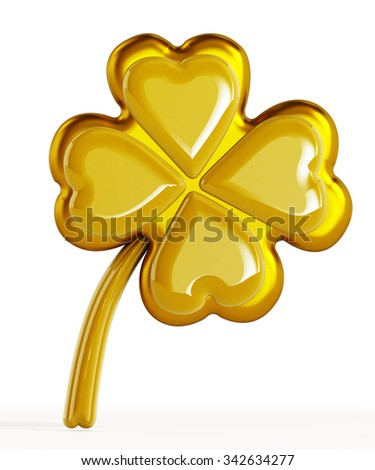 Golden four leaf clover isolated on white background - stock photo
