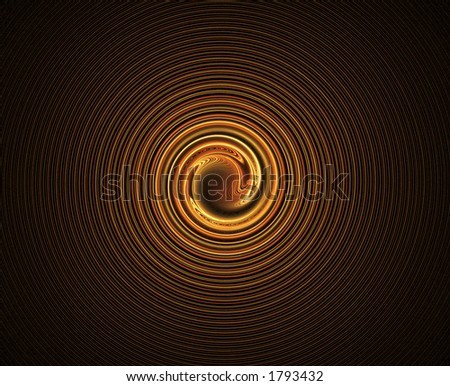 Golden Fractal Spiral - stock photo