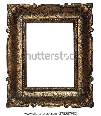 Golden frame isolated on white - stock photo