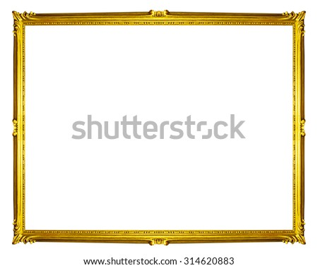 golden frame isolated on white background, clipping path  - stock photo
