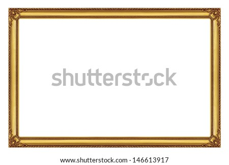 golden frame isolated on white background, with clipping path - stock photo