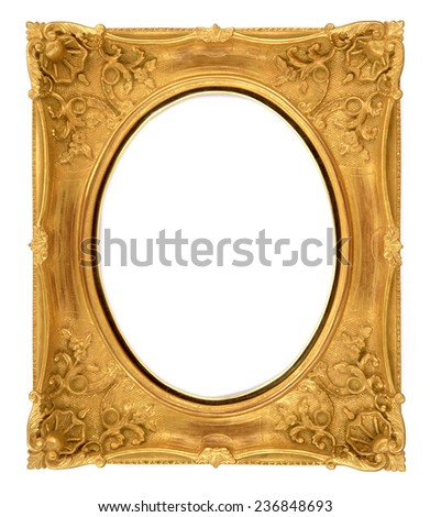 golden frame, loui frame, antique isolated on white background - stock photo