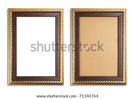 Golden frame with a old paper and white background - stock photo