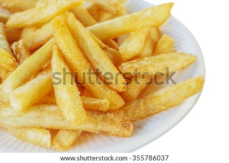 Golden French fries potatoes ready to be eaten. - stock photo