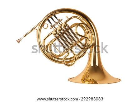 Golden french horn in hard light isolated on white background - stock photo