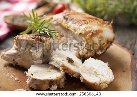 Golden fried stuffed chicken - stock photo