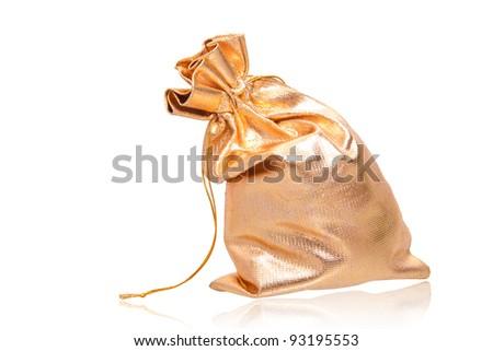 golden full sack isolated over white - stock photo