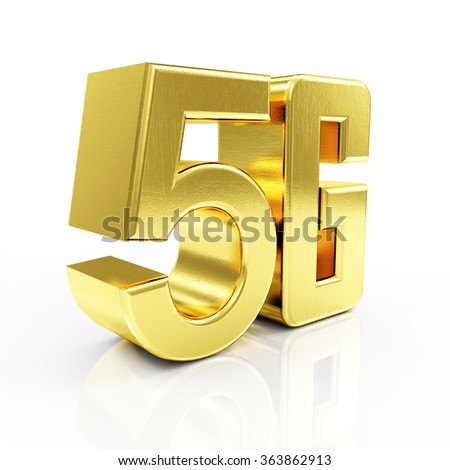 Golden 5G Symbol of Standard Wireless Communication isolated on white reflective background - stock photo