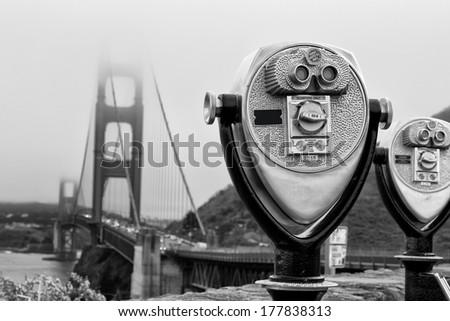 golden gate binocular - stock photo