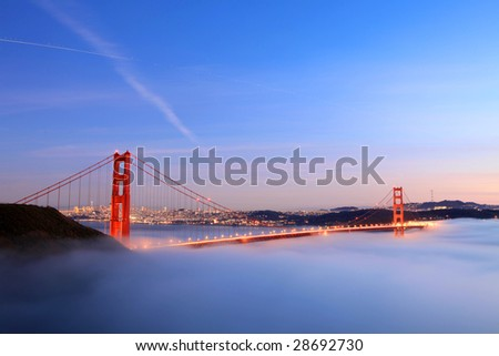 Golden Gate bridge after sunset - stock photo