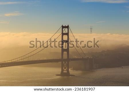 Golden Gate Bridge and downtown San Francisco, USA - stock photo