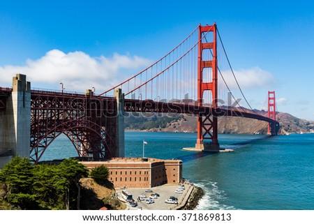 Golden Gate Bridge at daytime - stock photo