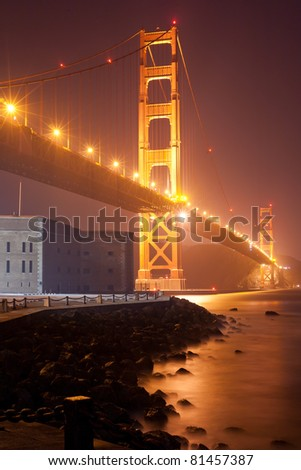 Golden Gate Bridge at night from south - San Francisco - stock photo