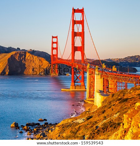 Golden Gate Bridge at sunset, San Francisco - stock photo