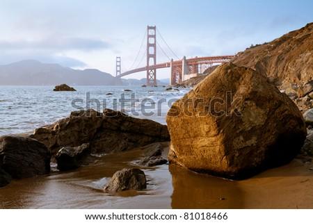 Golden Gate Bridge at sunset; San Francisco, California - stock photo