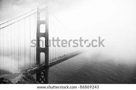 Golden Gate Bridge black and white , San Francisco - stock photo