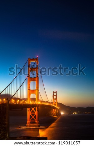 Golden Gate Bridge by night - stock photo
