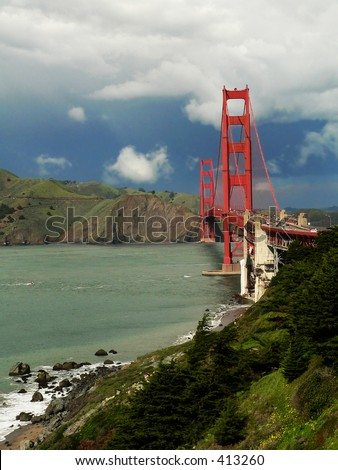 Golden Gate Bridge from the Southwest, vertical - stock photo