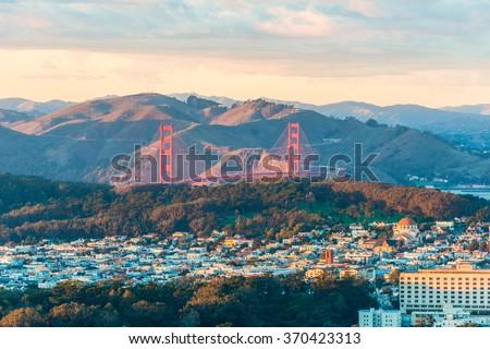 Golden Gate Bridge from Twin Peak - stock photo