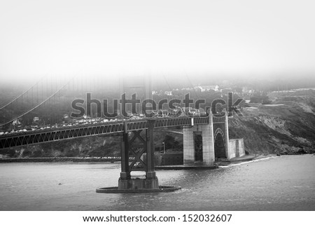 Golden Gate Bridge in Fog. Black and White Photography. San Francisco, CA USA. - stock photo